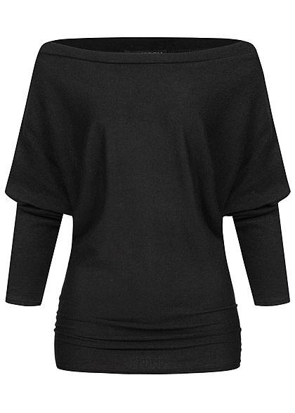 Styleboom Fashion Damen Off-Shoulder Pullover Deko Knöpfe schwarz