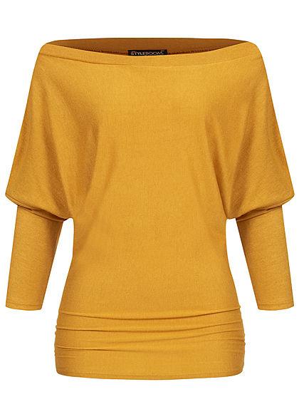 Styleboom Fashion Damen Off-Shoulder Pullover Deko Knöpfe gelb