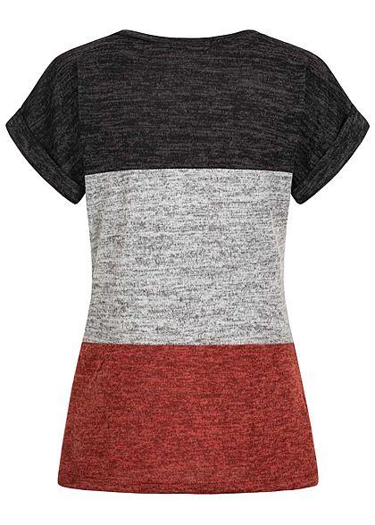 Styleboom Fashion Damen Colorblock Melange T-Shirt copper braun grau schwarz
