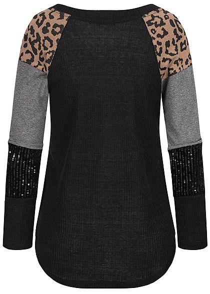 Styleboom Fashion Damen Ribbed Pullover Pailletten & Leo Print schwarz