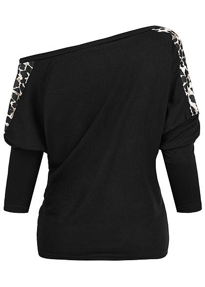 Styleboom Fashion Damen One-Shoulder Fledermausarm Shirt Leo Print schwarz