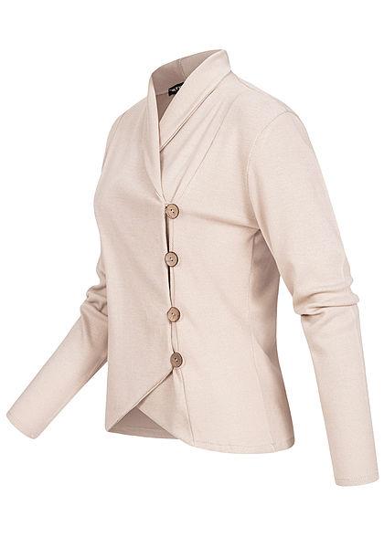 Styleboom Fashion Damen Wickel-Blazer mit Knopfleiste Strukturstoff beige