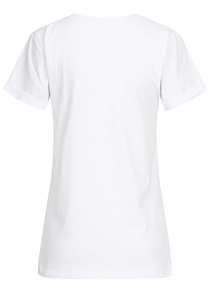 Styleboom Fashion Damen T-Shirt Faultier Print weiss navy blau