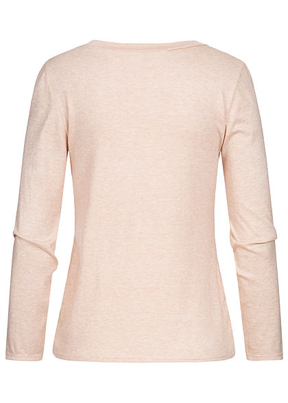 Styleboom Fashion Damen Soft-Touch V-Neck Longsleeve beige rosa melange