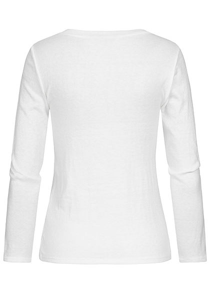 Styleboom Fashion Damen Soft-Touch V-Neck Longsleeve weiss