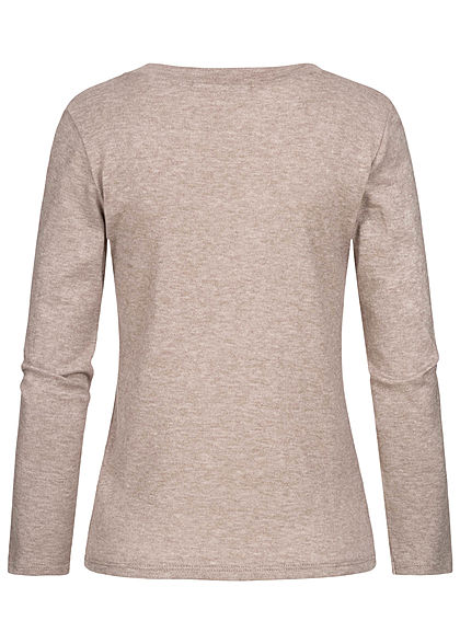 Styleboom Fashion Damen Soft-Touch V-Neck Longsleeve fango braun