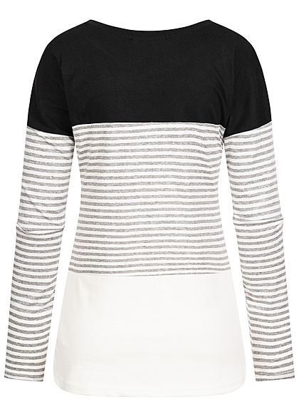 Styleboom Fashion Damen Colorblock Longsleeve Streifen Muster schwarz grau weiss