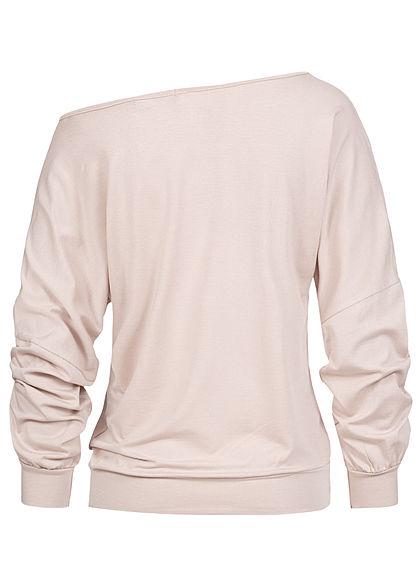 Styleboom Fashion Damen Oversized One-Shoulder Fledermausarm Shirt beige
