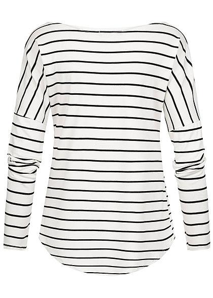 Styleboom Fashion Damen Longsleeve Streifen Muster weiss schwarz