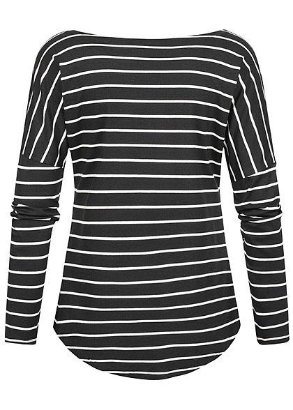 Styleboom Fashion Damen Longsleeve Streifen Muster schwarz weiss