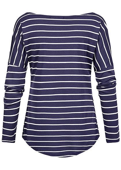 Styleboom Fashion Damen Longsleeve Streifen Muster navy blau weiss