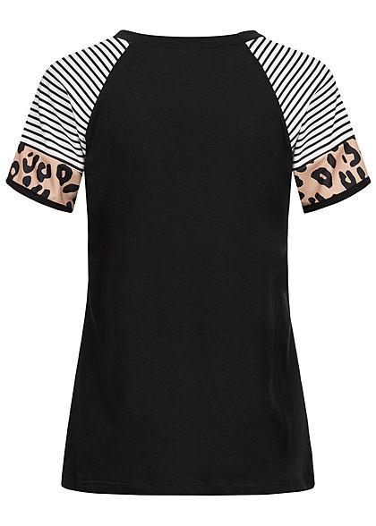 Styleboom Fashion Damen Raglan T-Shirt Streifen & Leo Print schwarz