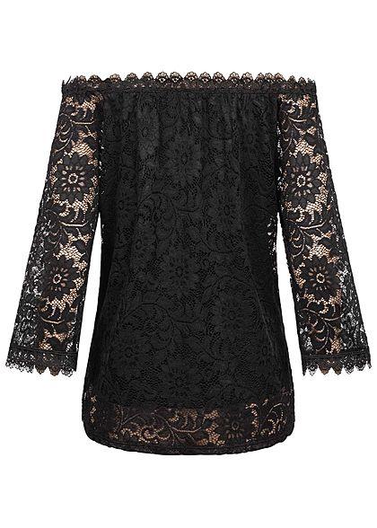 Styleboom Fashion Damen Off-Shoulder Spitzen Bluse 2-lagig schwarz