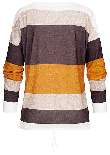 Styleboom Fashion Damen Multicolor Longleeve Streifen Muster Tunnelzug gelb multi