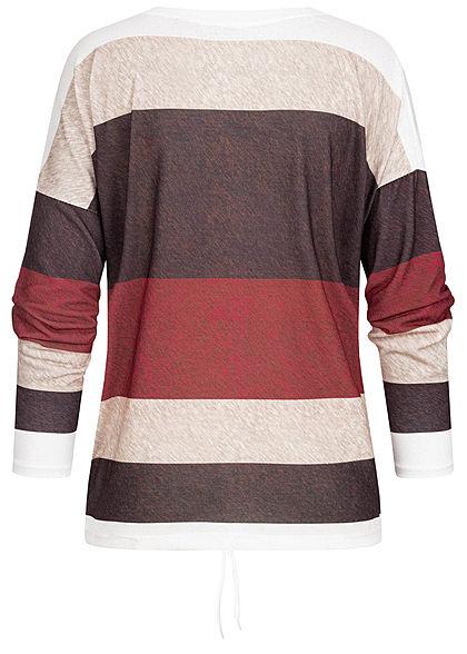 Styleboom Fashion Damen Multicolor Longleeve Streifen Muster Tunnelzug rot multi