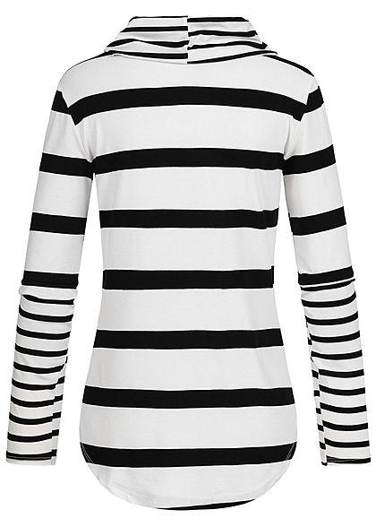 Styleboom Fashion Damen Rollkragen Longsleeve Streifen Muster weiss schwarz