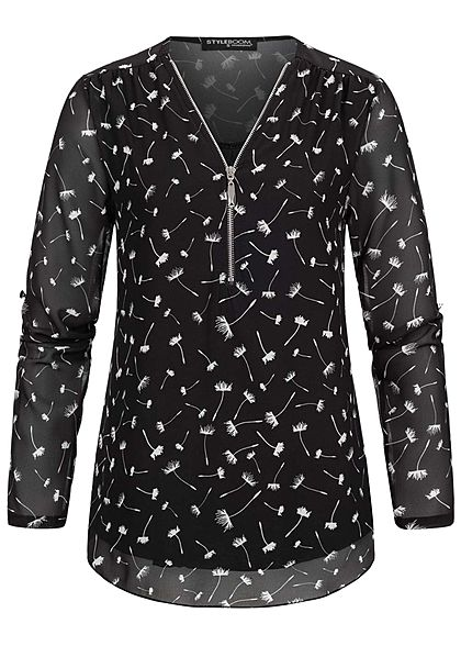 Styleboom Fashion Damen Turn-Up V-Neck Zipper Bluse Pusteblumen Print schwarz