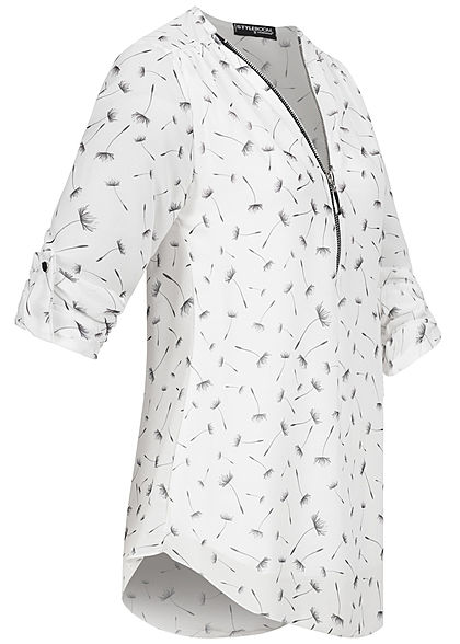 Styleboom Fashion Damen Turn-Up V-Neck Zipper Bluse Pusteblumen Print weiss
