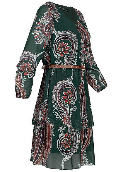 Styleboom Fashion Damen V-Neck Chiffon Kleid inkl. Gürtel Inka Print dunkel grün
