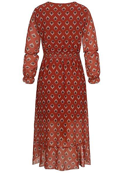 Styleboom Fashion Damen V-Neck Chiffon Midi Kleid Allover Print kupfer braun