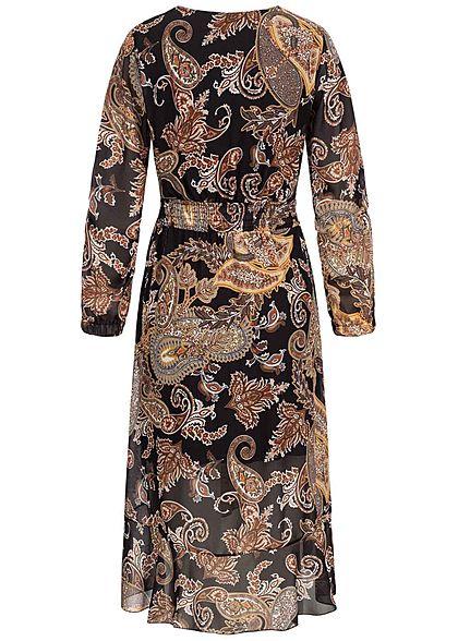 Styleboom Fashion Damen V-Neck Chiffon Midi Kleid Bandana Print schwarz
