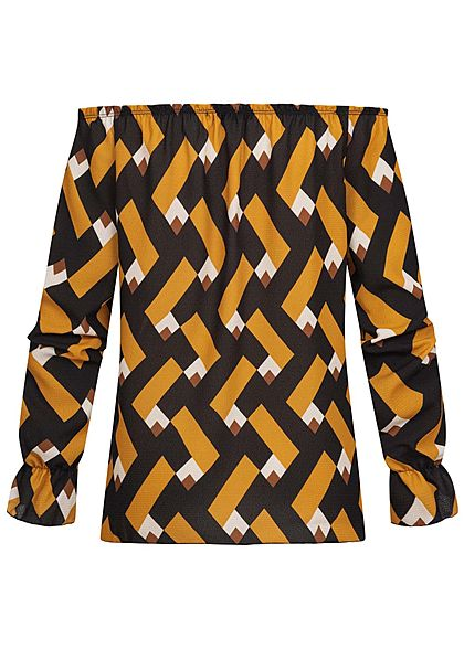 Styleboom Fashion Damen Off-Shoulder Bluse Zick Zack Print senf gelb schwarz braun