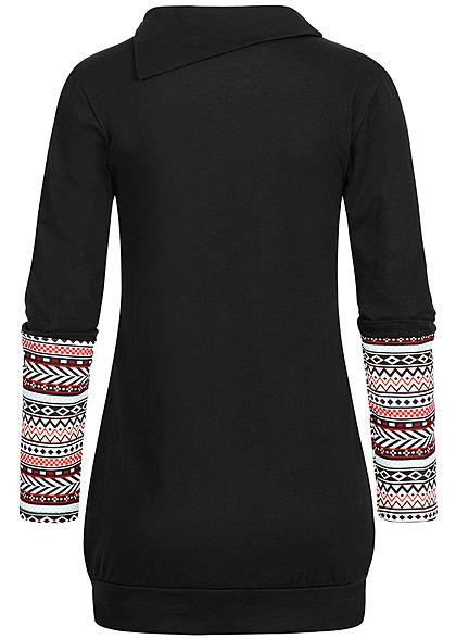 Styleboom Fashion Damen Turtle-Neck Longform Longsleeve Brusttasche schwarz