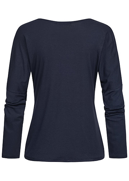 Styleboom Fashion Damen Colorblock Longsleeve navy blau grau weiss