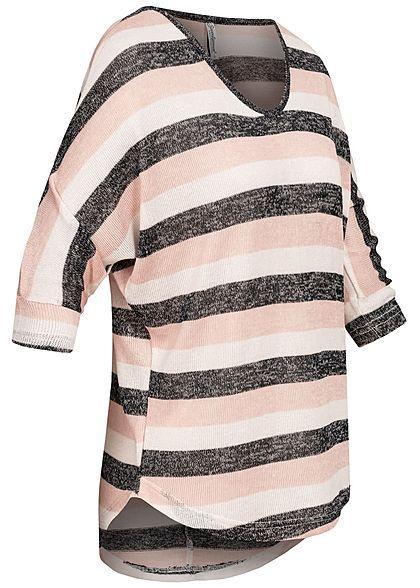Seventyseven Lifestyle Damen 3/4 Arm Oversized Shirt gestreift rosa weiss