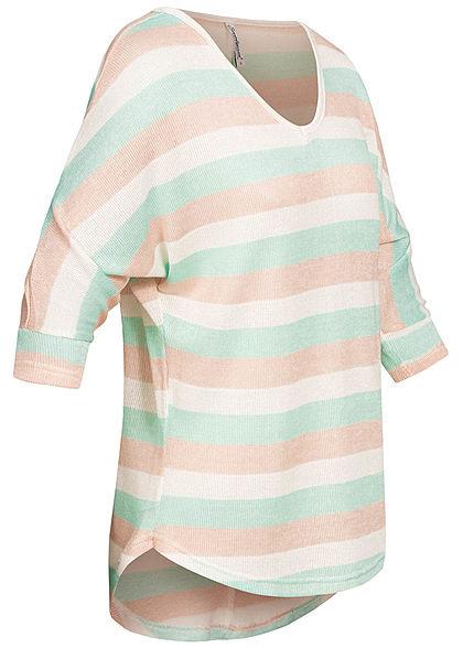 Seventyseven Lifestyle Damen 3/4 Arm Oversized Shirt gestreift mint rosa weiss