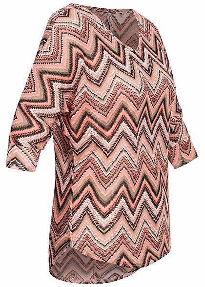 Seventyseven Lifestyle Damen 3/4 Arm Shirt Zick Zack Muster multicolor