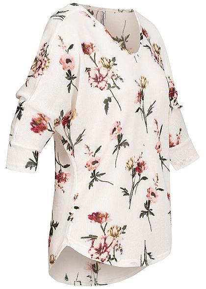 Seventyseven Lifestyle Damen 3/4 Arm Oversized Shirt Blumen Muster weiss multicolor