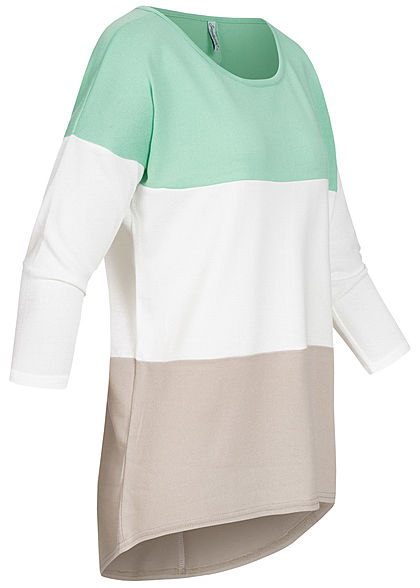 Seventyseven Lifestyle Damen Oversized 3/4 Arm Colorblock Pullover Streifen mint grün