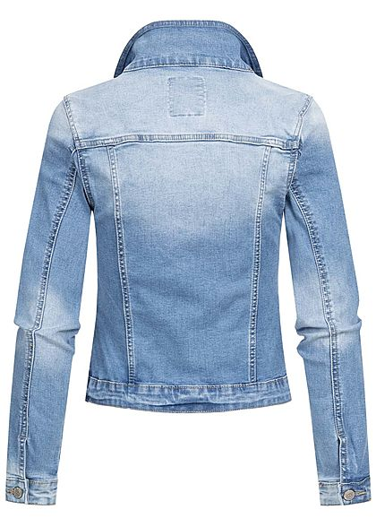 Hailys Damen Jeans Jacke 4-Pockets Knopfleiste washed hell blau denim