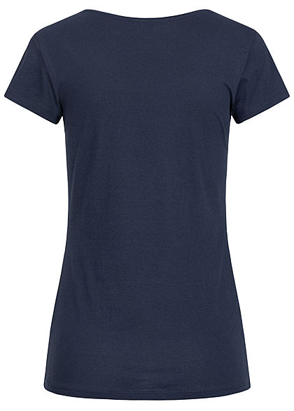 Tom Tailor Damen Basic Jersey Logo Print T-Shirt navy blau weiss