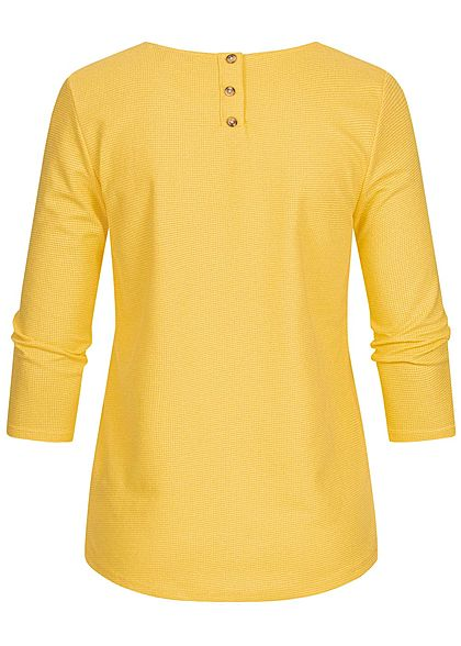 TOM TAILOR Damen 3/4 Arm Struktur Shirt Knopfleiste golden summer gelb