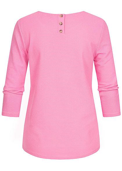 TOM TAILOR Damen 3/4 Arm Struktur Shirt Knopfleiste wild orchid pink