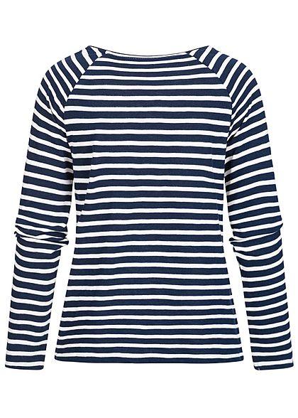TOM TAILOR Damen Longsleeve Streifen Muster Sun Shine Stitch navy blau weiss