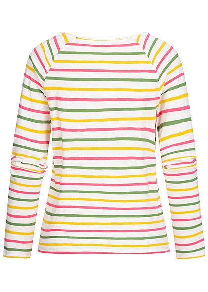 TOM TAILOR Damen Longsleeve Streifen Muster Sun Shine Stitch off weiss multicolor