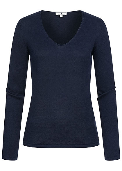 TOM TAILOR Damen Basic V-Neck Pullover sky captain blau