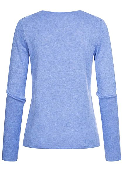 Tom Tailor Damen Basic V-Neck Pullover sea hell blau melange