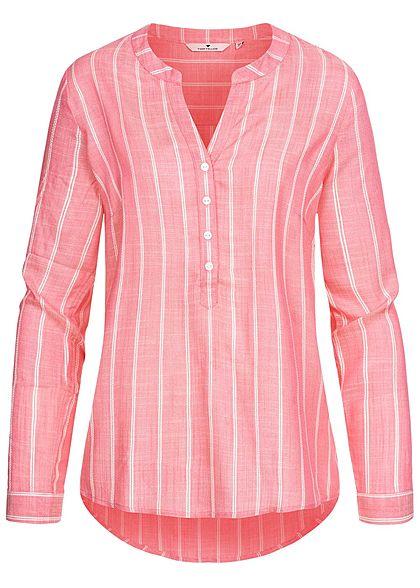 TOM TAILOR Damen Turn-Up V-Neck Bluse Streifen Muster pink rosa weiss