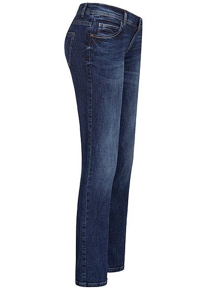 TOM TAILOR Damen Straight Fit Jeans Hose 5-Pockets mid stone wash dunkel blau den