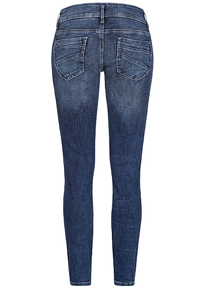 TOM TAILOR Damen Slim Fit Jeans Hose 4-Pockets Regular Waist random bleached blau den