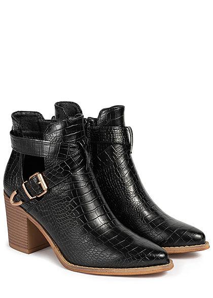 Seventyseven Lifestyle Damen Schuh Stiefelette Absatz 8cm Schlangenhaut Optik schwarz