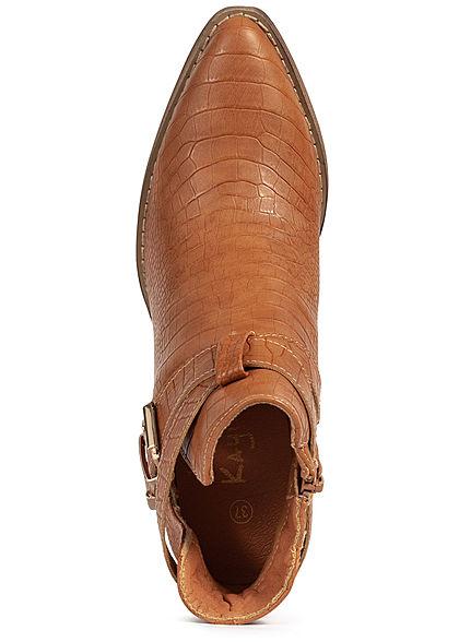 Seventyseven Lifestyle Damen Schuh Stiefelette Absatz 8cm Schlangenhaut Optik camel