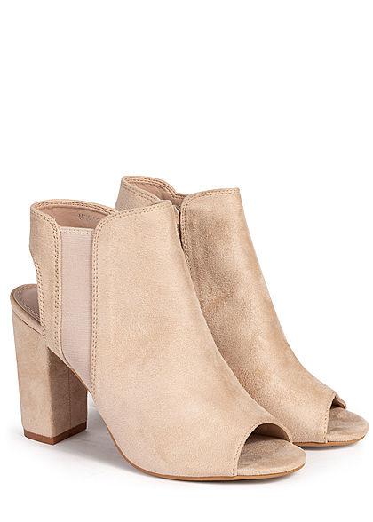 Seventyseven Lifestyle Damen Schuh Stiletto Sandalette 10cm Velour Kunstleder beige