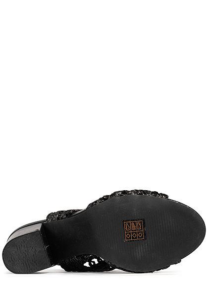Seventyseven Lifestyle Damen Schuh Stiletto Sandalette 9cm Häkel-Optik Kunstleder schwarz