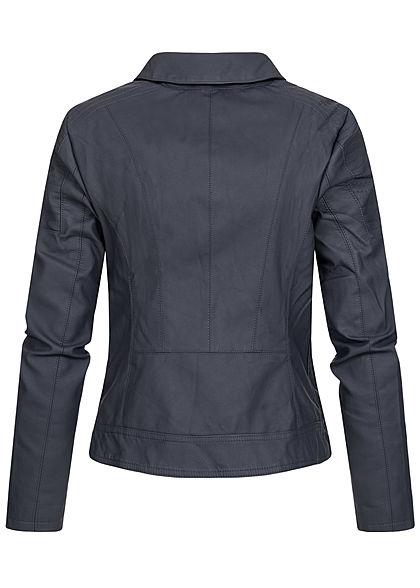 ONLY Damen Kunstleder Biker Jacke 2-Pockets Steppdetail an Schulter night sky navy blau