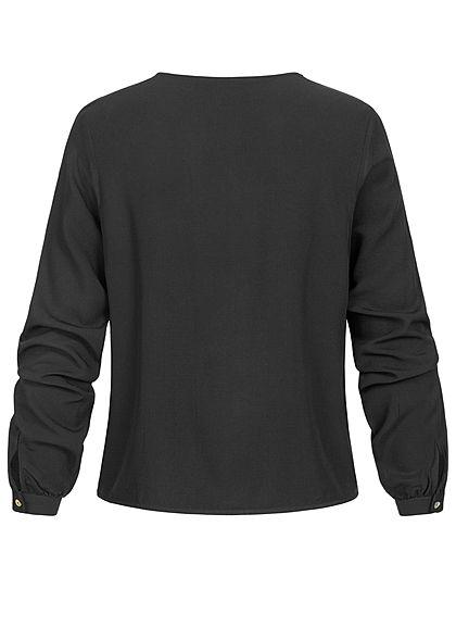 ONLY Damen V-Neck Bluse Schnürdetail am Abschluss Knopfleiste schwarz